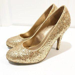 Candies | Gold Glitter Pump Heels Size 10
